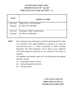 exam timetable for chief mate NCV 1